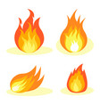 burning fire collection isolated on white poster vector image