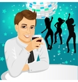 businessman drinking wine at the party vector image