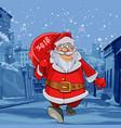 cartoon santa claus walks on winter street vector image