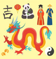 china icons east ancient famous oriental culture vector image