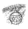 christmas ball on the tree hand drawing vector image