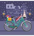 Christmas Bike Landscape vector image vector image