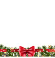 christmas border fir tree vector image