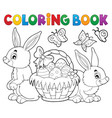 coloring book easter basket and rabbits vector image vector image