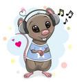 cute cartoon rat with headphones vector image vector image