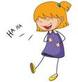 cute girl laughing doodle cartoon character