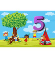 dFlashcard number 5 with five children in the park vector image vector image