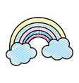 doodle beauty nature rainbow with fluffy clouds vector image vector image