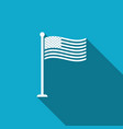 flag of usa on flagpole icon with long shadow vector image