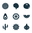 food icons set with ketchup cactus pattionson vector image