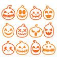 halloween pumpkins icon set vector image