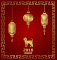 happy chinese new year 2018 card with lanterns and vector image vector image
