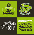 happy st patricks day set cards greeting vector image