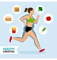 Healthy lifestyle running woman vector image