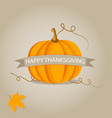 holiday banner with pumpkin for thanksgiving day vector image vector image