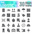 logistic glyph icon set delivery symbols vector image vector image