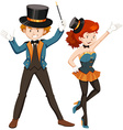 Magician and his assistant in costume vector image vector image