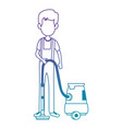 man with vacuum avatar vector image