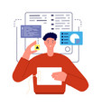 man working with charts analytics or developer vector image vector image