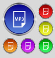 mp3 icon sign Round symbol on bright colourful vector image