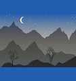 night landscape with mountain mond stars vector image vector image