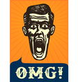 OMG Jaw dropping vintage shocked man face vector image