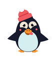 penguin wearing hat grimacing on ice vector image