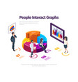 people interact graphs futuristic glowing panels vector image