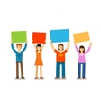 People with placards in the style of flat design vector image vector image