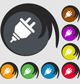 plug icon Symbols on eight colored buttons vector image