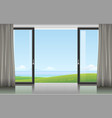 room with a sliding door vector image vector image