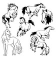 running horse black and white vector image vector image