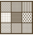 set 9 simple seamless monochrome patterns part vector image vector image