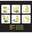 Set of avocado and olive icons vector image