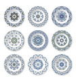 set of decorative plates with a circular blue vector image vector image