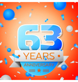 Sixty three years anniversary celebration on vector image vector image
