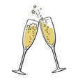 two glasses champagne vector image vector image