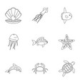 underwater animal stickers icons set vector image vector image