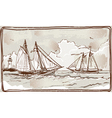 vintage view sailing ships on sea vector image vector image