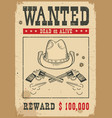 wanted poster western with guns and vector image vector image