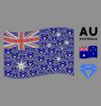 waving australia flag composition diamond items vector image vector image