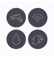 Wi-fi video monitoring and water drop icons vector image vector image