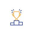 winner podium line icon sports trophy vector image