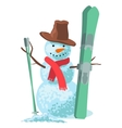 winter sport Snowman with ski vector image vector image