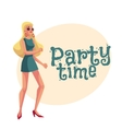 Young blond woman in short 1960s style dress vector image vector image