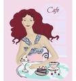 Young Womanin in Cafe vector image