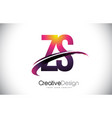 zs z s purple letter logo with swoosh design vector image vector image