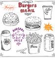 Burger Menu hand drawn sketch Fastfood Poster with vector image