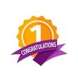 Happy first birthday badge icon vector image