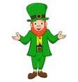 a cute cartoon leprechaun st patricks day mascot c vector image